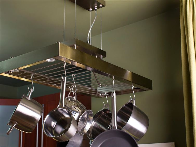 40+ Organization and Storage Hacks for Small Kitchens --> Hang your pots over a pot rack pendant light in the kitchen