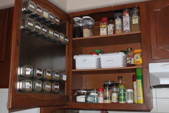 40+ Organization and Storage Hacks for Small Kitchens --> Take advantage of the inside of your cabinet doors to store spices