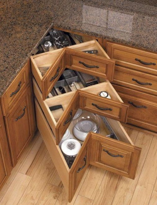 40+ Organization and Storage Hacks for Small Kitchens --> DIY kitchen corner drawers