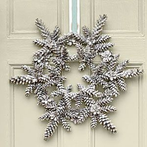 40+ Creative Pinecone Crafts for Your Holiday Decorations --> Snowy Pinecone Wreath