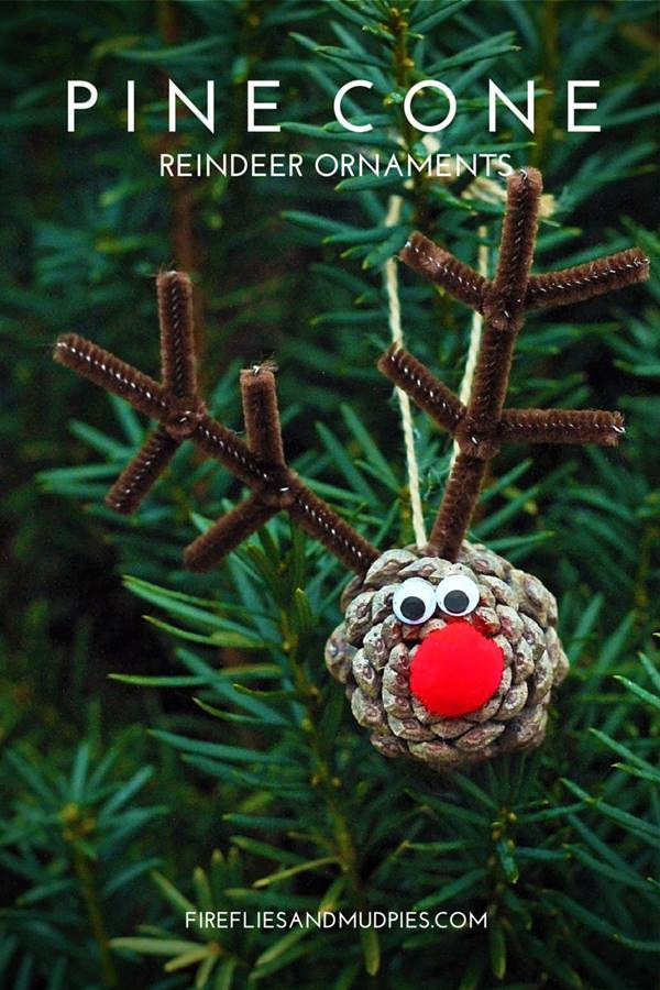 40+ Creative Pinecone Crafts for Your Holiday Decorations --> Pinecone Reindeer Ornaments