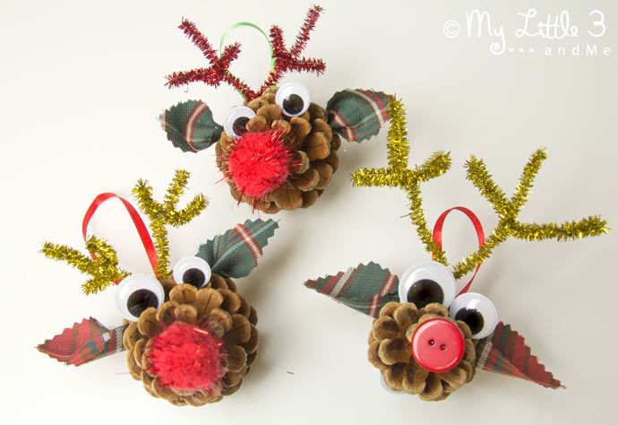 40+ Creative Pinecone Crafts for Your Holiday Decorations --> Pinecone Reindeer Homemade Ornaments