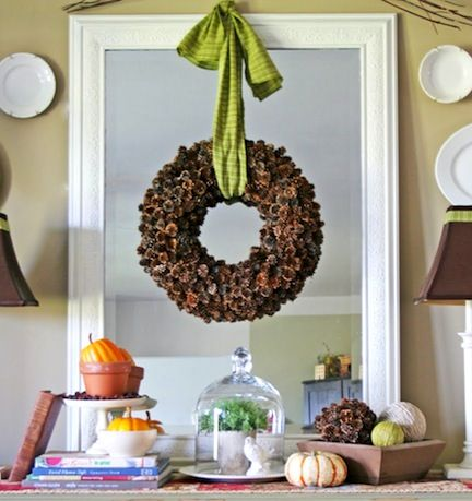40+ Creative Pinecone Crafts for Your Holiday Decorations --> Pinecone Wreath
