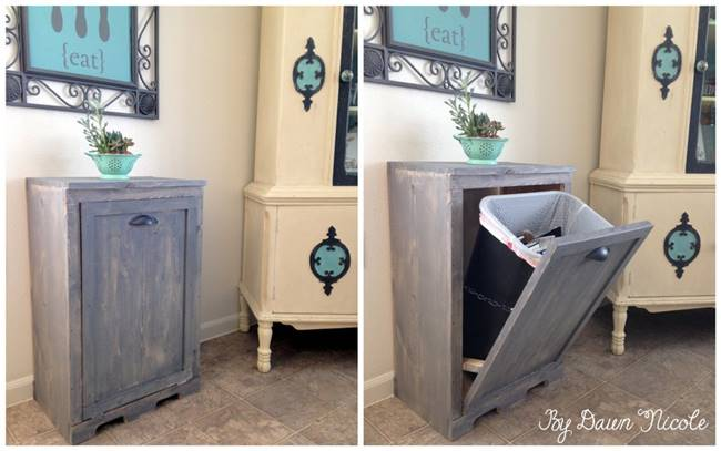 Creative Ideas   DIY Wood Tilt Out Trash Can Cabinet