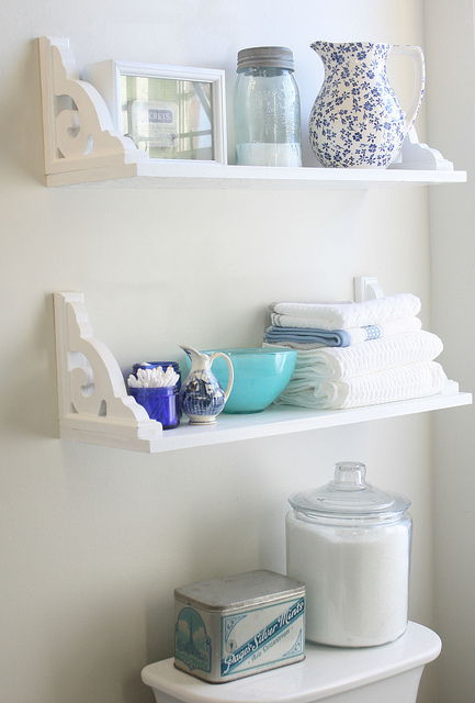 40+ Brilliant DIY Storage and Organization Hacks for Small Bathrooms --> Install bathroom storage shelves to store loose items