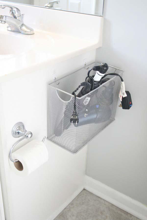40+ Brilliant DIY Storage and Organization Hacks for Small Bathrooms --> DIY file box bathroom appliance storage