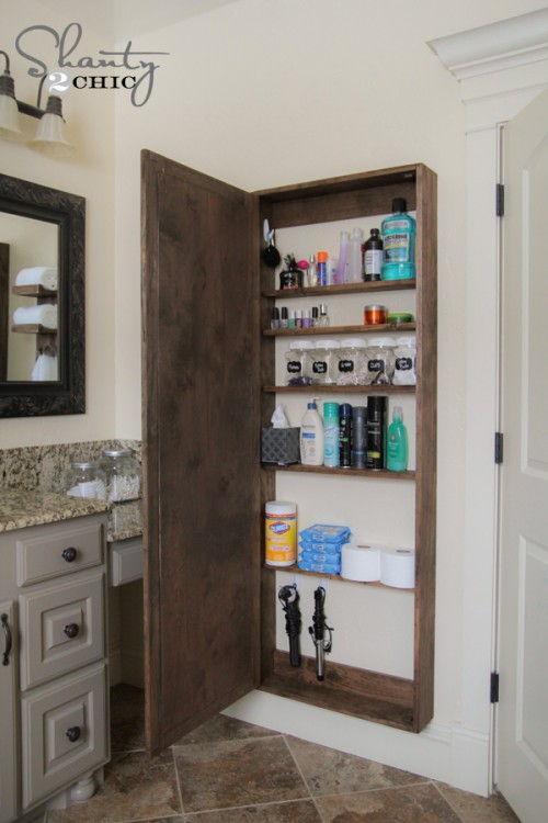 40+ Brilliant DIY Storage and Organization Hacks for Small Bathrooms --> DIY bathroom mirror storage case