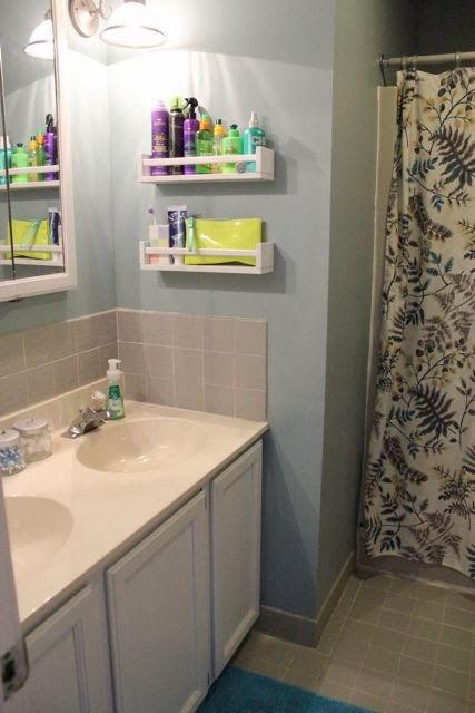40+ Brilliant DIY Storage and Organization Hacks for Small Bathrooms --> Turn spice racks into bathroom storage