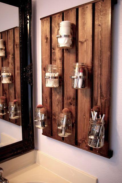 40+ Brilliant DIY Storage and Organization Hacks for Small Bathrooms --> DIy ball jar storage in the bathroom