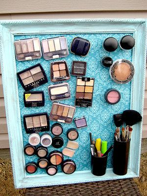 40+ Brilliant DIY Storage and Organization Hacks for Small Bathrooms --> Make a magnet makeup board to keep your makeup organized