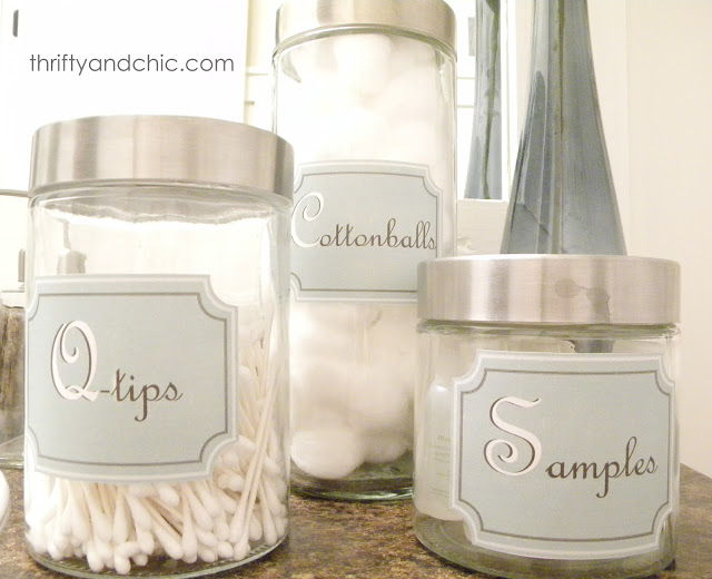 40+ Brilliant DIY Storage and Organization Hacks for Small Bathrooms --> Print bathroom container labels to organize cotton balls and other essentials