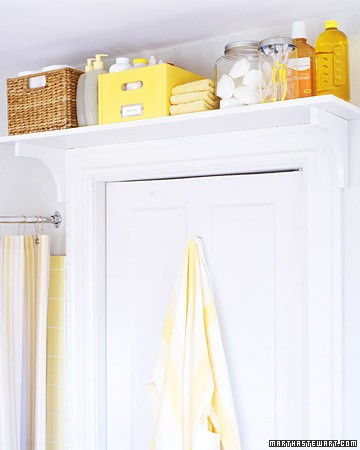 40+ Brilliant DIY Storage and Organization Hacks for Small Bathrooms --> Put a toiletry shelf over the bathroo door for extra storage