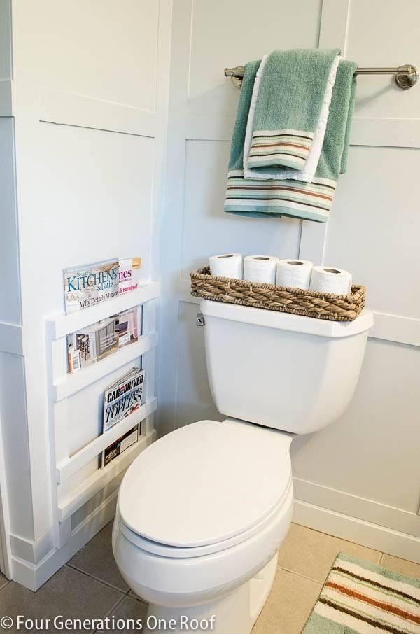 40+ Brilliant DIY Storage and Organization Hacks for Small Bathrooms --> DIY bathroom magazine rack
