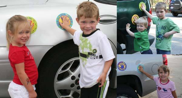 """30+ Brilliant Mom Hacks That Will Make Your Life Easier --> Put stickers on your car to keep the kid standing in a """"safety spot"""" when you are loading or unloading."""