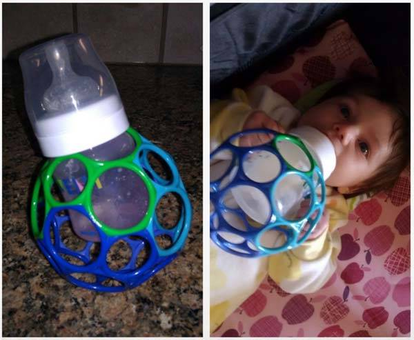 30+ Brilliant Mom Hacks That Will Make Your Life Easier --> DIY bottle holder to let babies feed themselves.