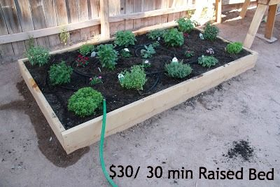 30+ Creative DIY Raised Garden Bed Ideas And Projects --> Thirty Minute Thirty Dollar Raised Bed