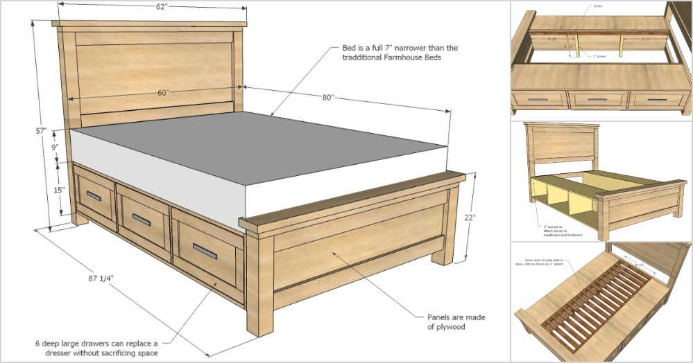 Creative Ideas - How To Build A Farmhouse Storage Bed with ...