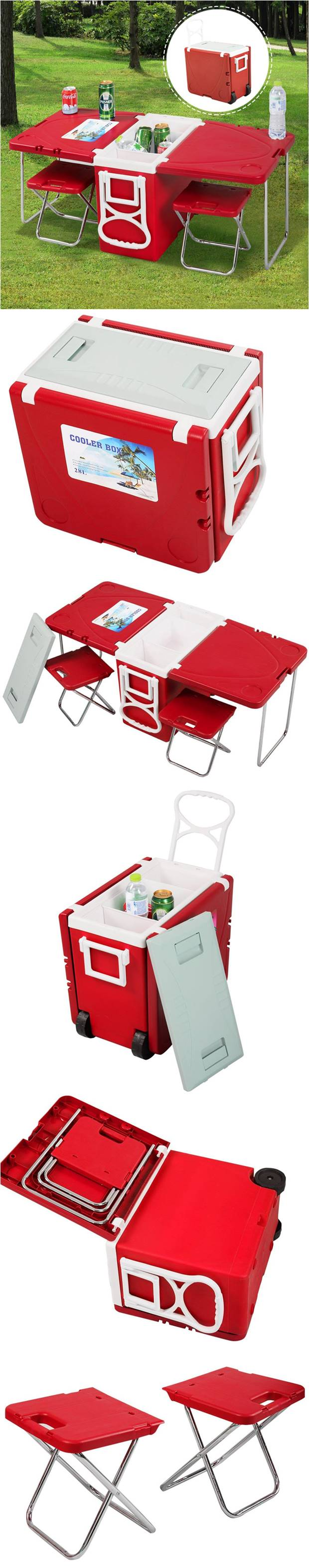 Creative Ideas - Multi-Functional Rolling Cooler With Picnic Table And Two Chairs