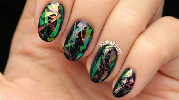 Creative Ideas - DIY Shattered Glass Nail Art