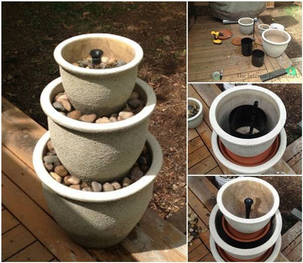 40+ Creative DIY Water Features For Your Garden --> DIY Plant Pot Water Fountain