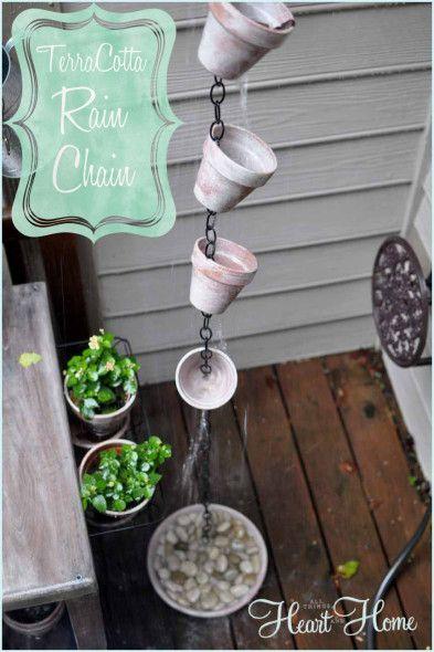 40+ Creative DIY Water Features For Your Garden --> DIY Terra Cotta Rain Chain