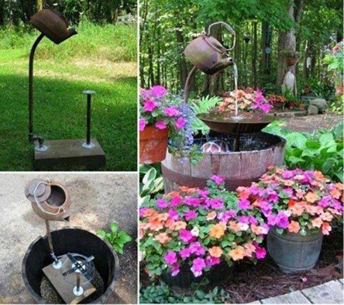 40+ Creative DIY Water Features For Your Garden --> Repurpose an Old Teapot into a Garden Water Fountain