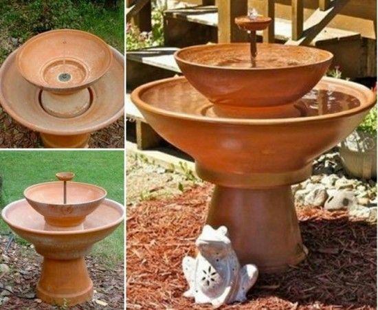 40+ Creative DIY Water Features For Your Garden --> DIY Terra Cotta Fountain