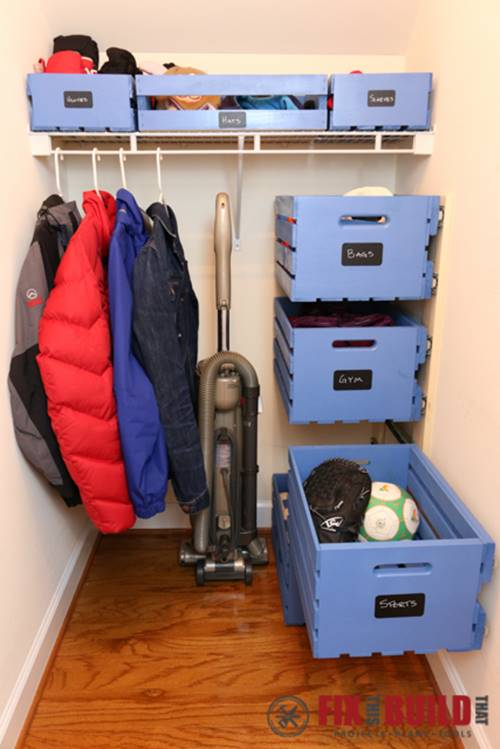 ideas to organize your closet - Creative Ideas DIY Pull Out Wood Crate Storage To