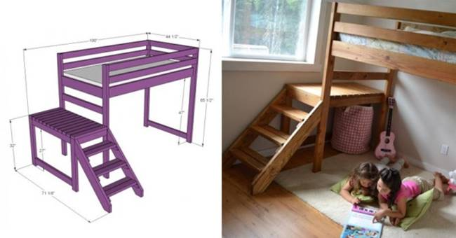 Creative Ideas - DIY Camp Loft Bed with Stairs