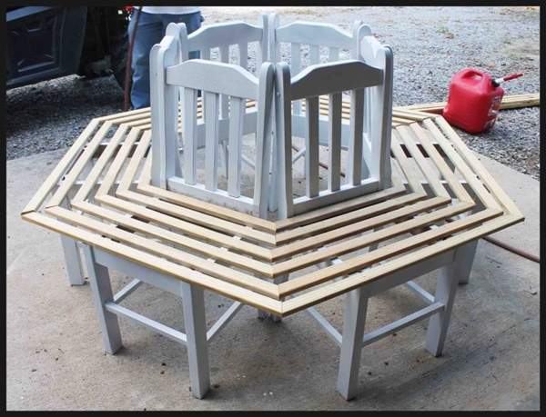 Creative Ideas - How to Build a Bench Around a Tree Using Old Kitchen Chairs 4