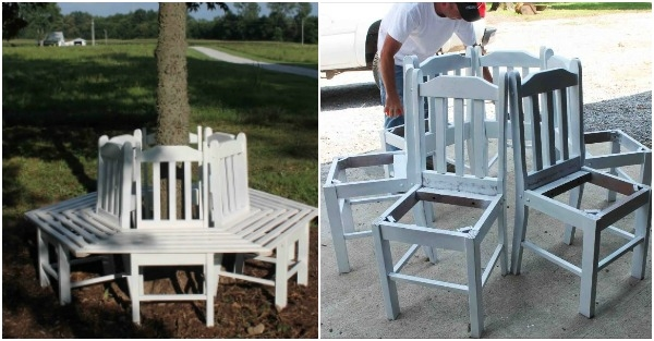 Creative Ideas - How to Build a Bench Around a Tree Using Old Kitchen Chairs