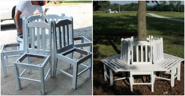 creative ideas how to build a bench around a tree using. Black Bedroom Furniture Sets. Home Design Ideas