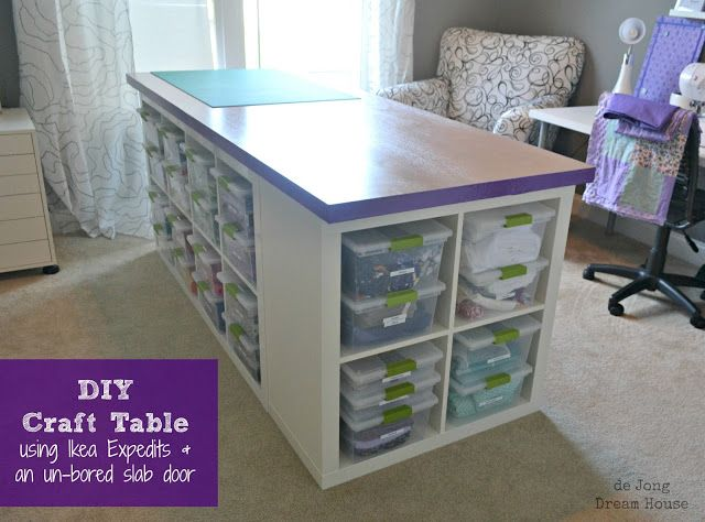 25+ Creative DIY Projects to Make a Craft Table --> DIY Craft Table Using Ikea Expedits and an Un-bored Slab Door