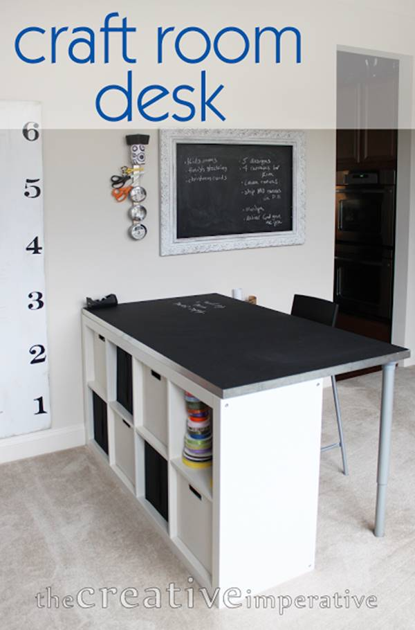 25+ Creative DIY Projects to Make a Craft Table --> Craft Room Desk with Shelves