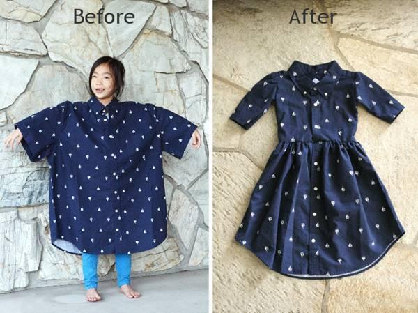 15+ Creative Ways To Repurpose Men's Shirt Into Little Girl's Dress -- DIY Men's XL Shirt into a Little Girl's Dress