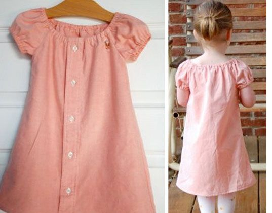15+ Creative Ways To Repurpose Men's Shirt Into Little Girl's Dress -- From Dad's Shirt to a Little Dress