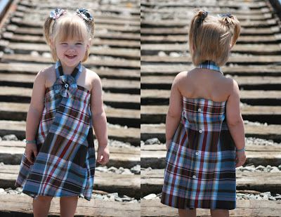 15+ Creative Ways To Repurpose Men's Shirt Into Little Girl's Dress -- Men's Shirt into Toddler Dress