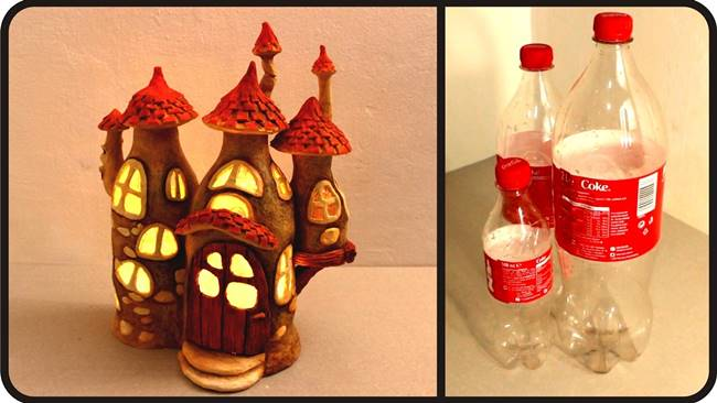 Creative Ideas - DIY Adorable Fairy House Lamps from Plastic Bottles