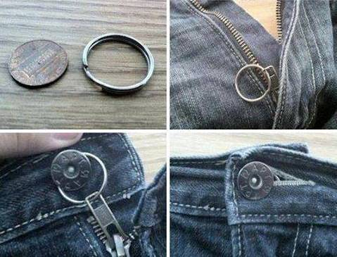 Keep your loose zipper up with a key chain ring
