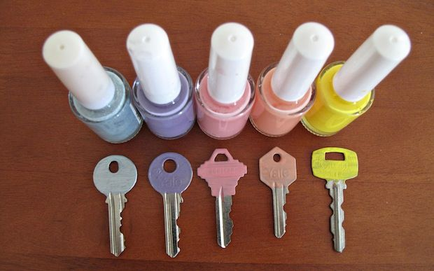 Colour code your keys with nail polish to easily distinguish them