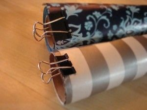 Use binder clip as wrapping paper clip