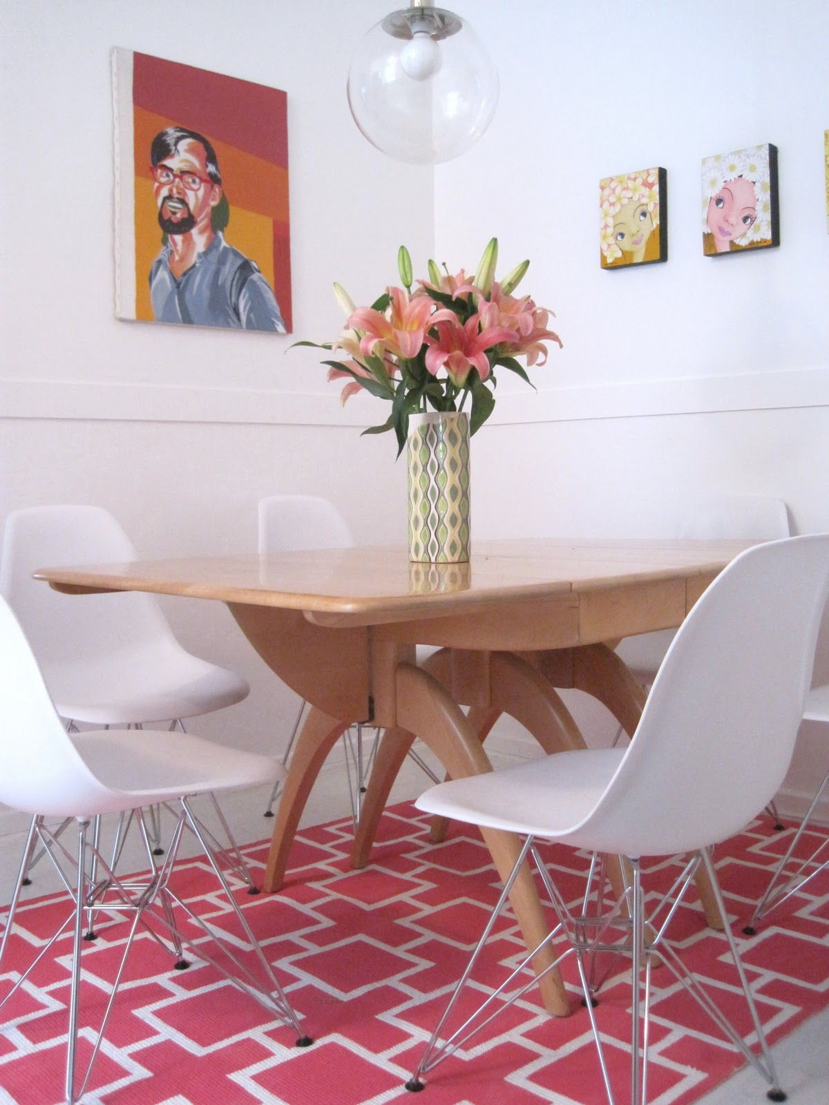 DIY Fabulous Pink Geometric Painted Rug
