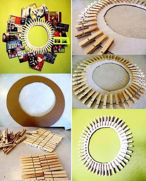 DIY Clothespin Photo Frame