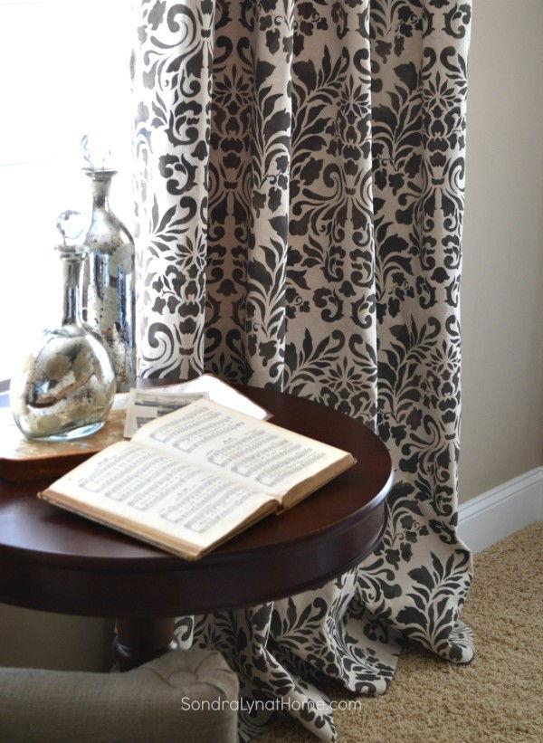 DIY Stencil Drop Cloth Curtains