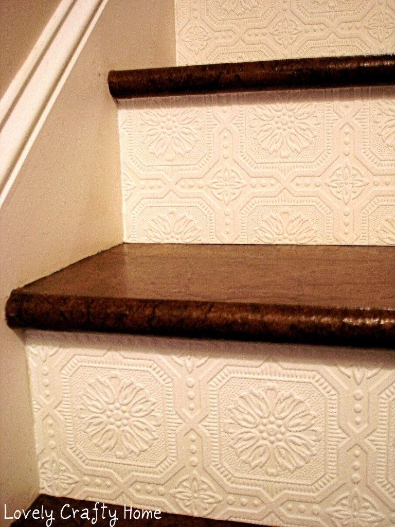 DIY Textured Wallpaper on Stairway