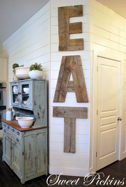 DIY EAT Letters from Reclaimed Lumber
