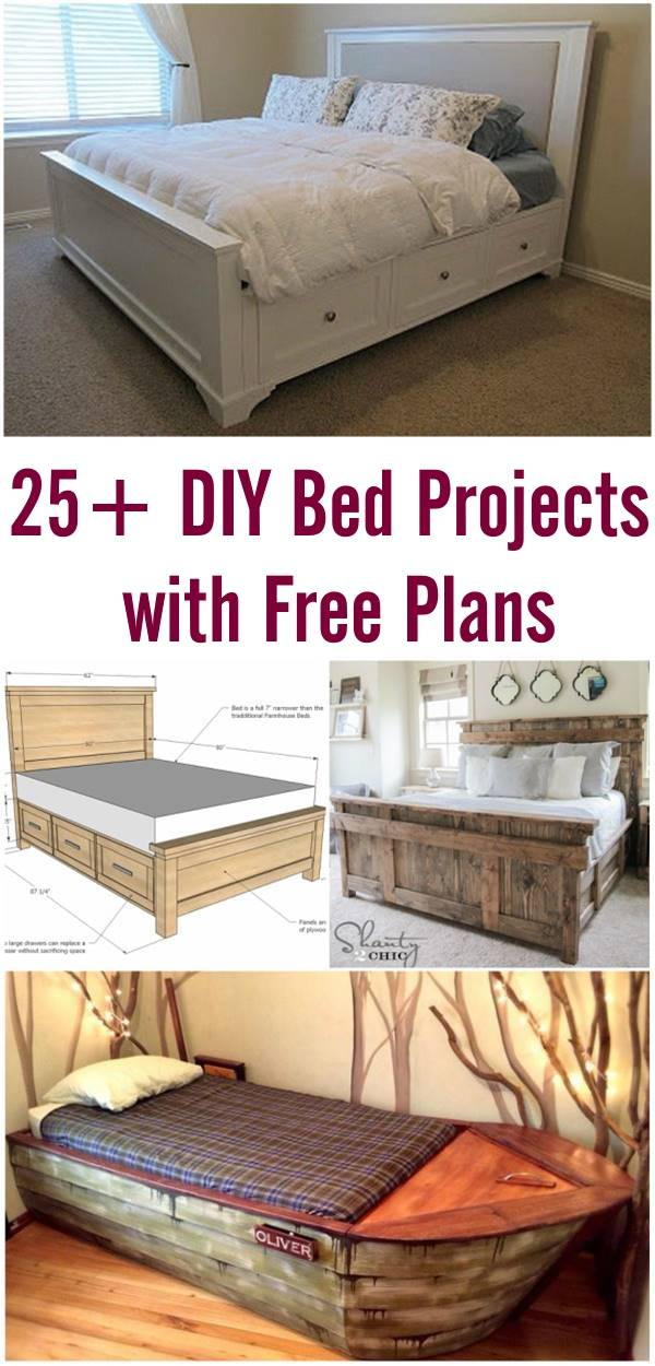 25+ Creative DIY Bed Projects with Free Plans - i Creative Ideas