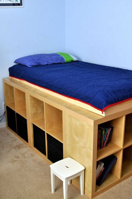 DIY Storage Bed Using IKEA Expedit Shelving Units