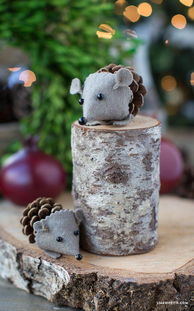 Felt and Pinecone Hedgehog Ornaments