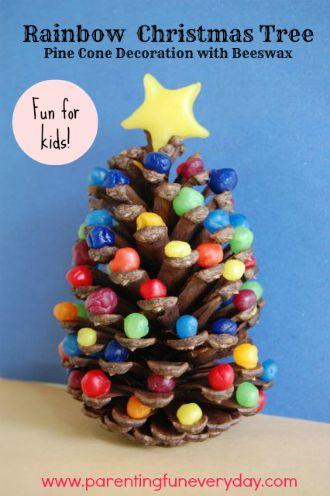 Beewax Pinecone Rainbow Christmas Trees